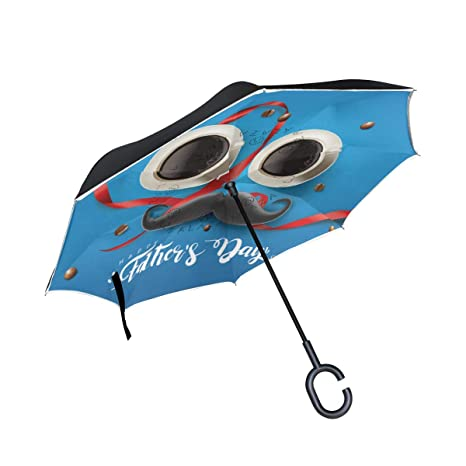 a323d256a917 Amazon.com: U LIFE Reverse Inverted Sun Rain Umbrella Happy Father's ...