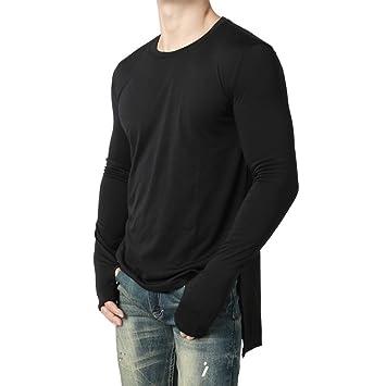 Hombre blusa manga larga Otoño,Sonnena ❤ Blusa manga larga para hombres de moda Camisa Fit Pollover O cuello sólido superior: Amazon.es: Hogar