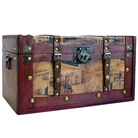 Beau Deluxe Vintage Style Wooden Storage Trunk Chest, Dimensions Approx 42x25x23  Cm   Gift Idea For