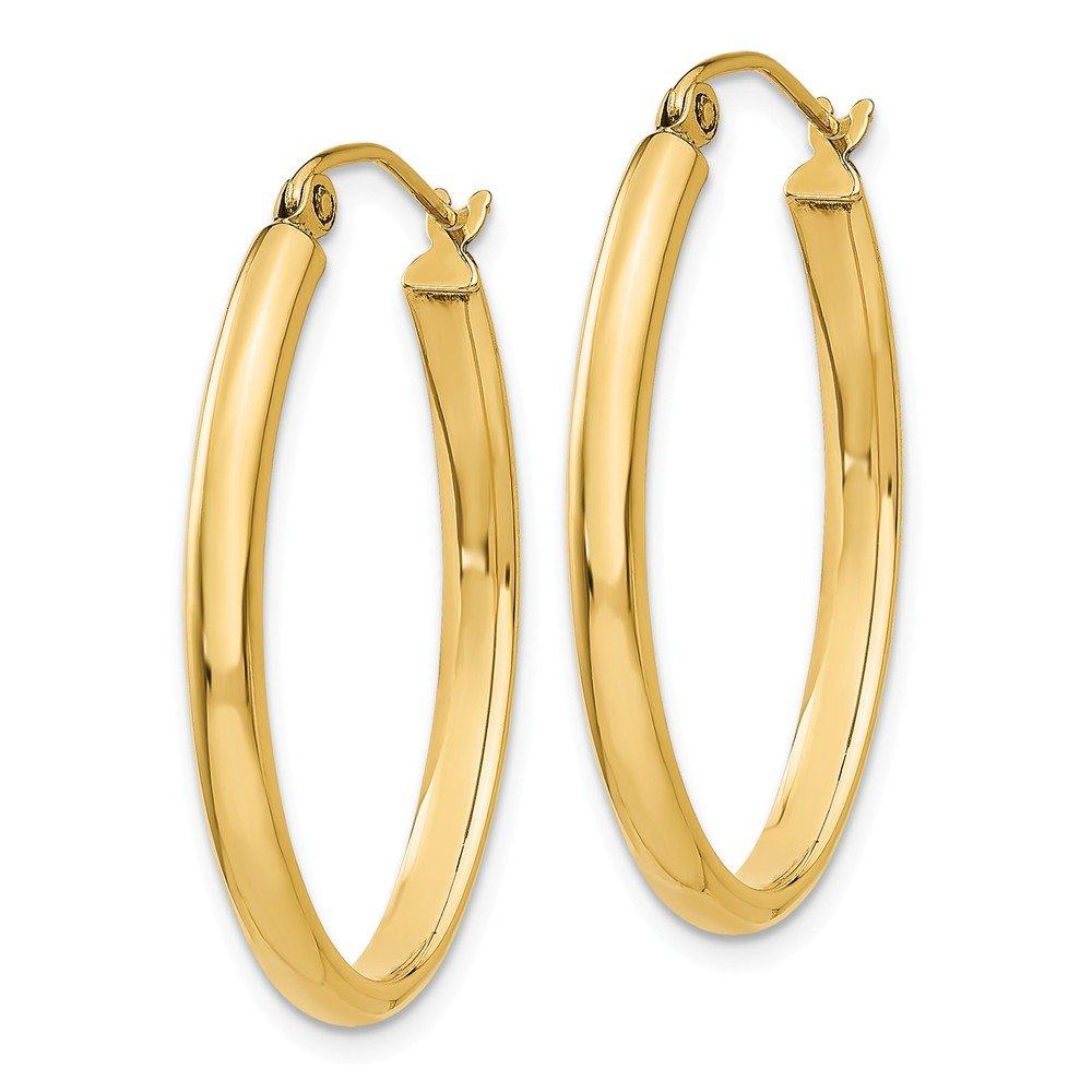 Mia Diamonds 14k Yellow Gold 3mm Oval Hoop Earrings