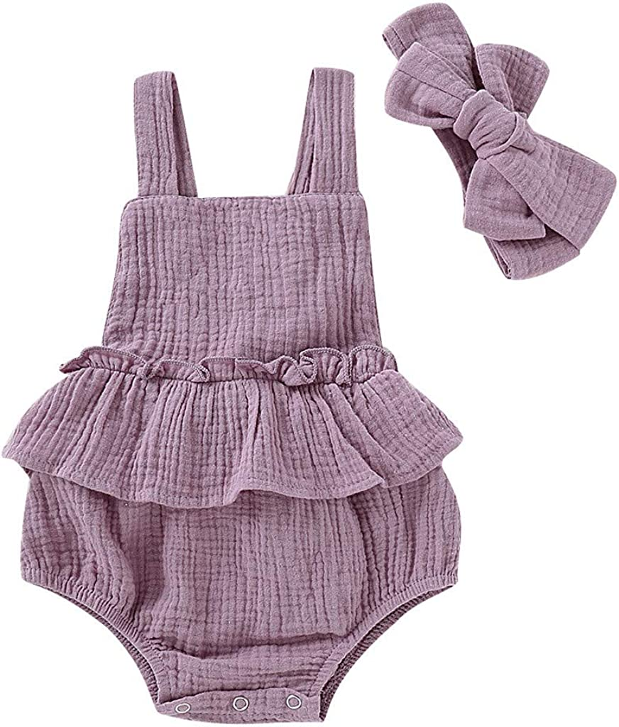 Efaster Newborn Infant Baby Girl Romper Dot Floral Sleeveless Jumpsuit Bodysuit Clothes 0-24 Months