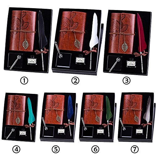 AOLVO Quill Pen Notebook Calligraphy Pen Set Harry Potter Quil Pen Dip Feather Fountain Pen Luxury Antique Pen Set with Holder Bottle Ink Box Include Feather Pen Pen Holder