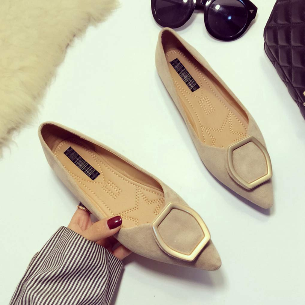 August Jim Women Flats Shoes Metal Buckle Pointed Toe Comfortable Loafers Casual Moccasins
