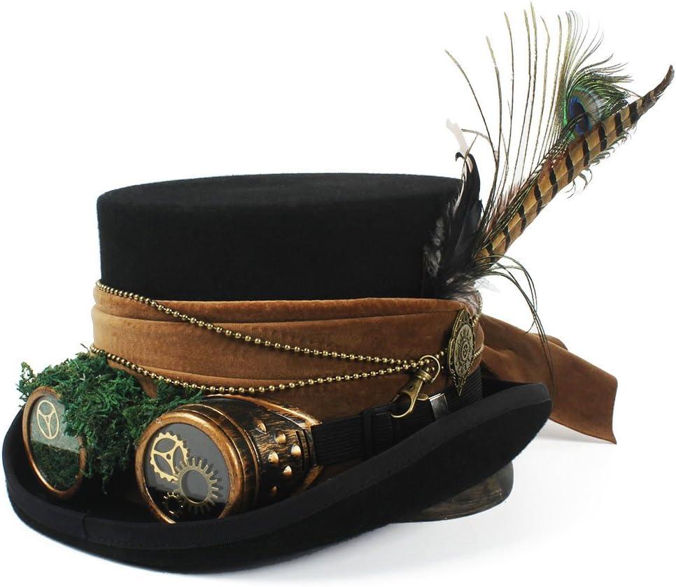 HBR Para Hombres Mujeres Sombrero Sombrerero Loco Sombrero de Pirata Sombrero de Copa con Gafas Steampunk Sombrero de Copa de Steampunk (Color : Negro, tamaño : 55cm)