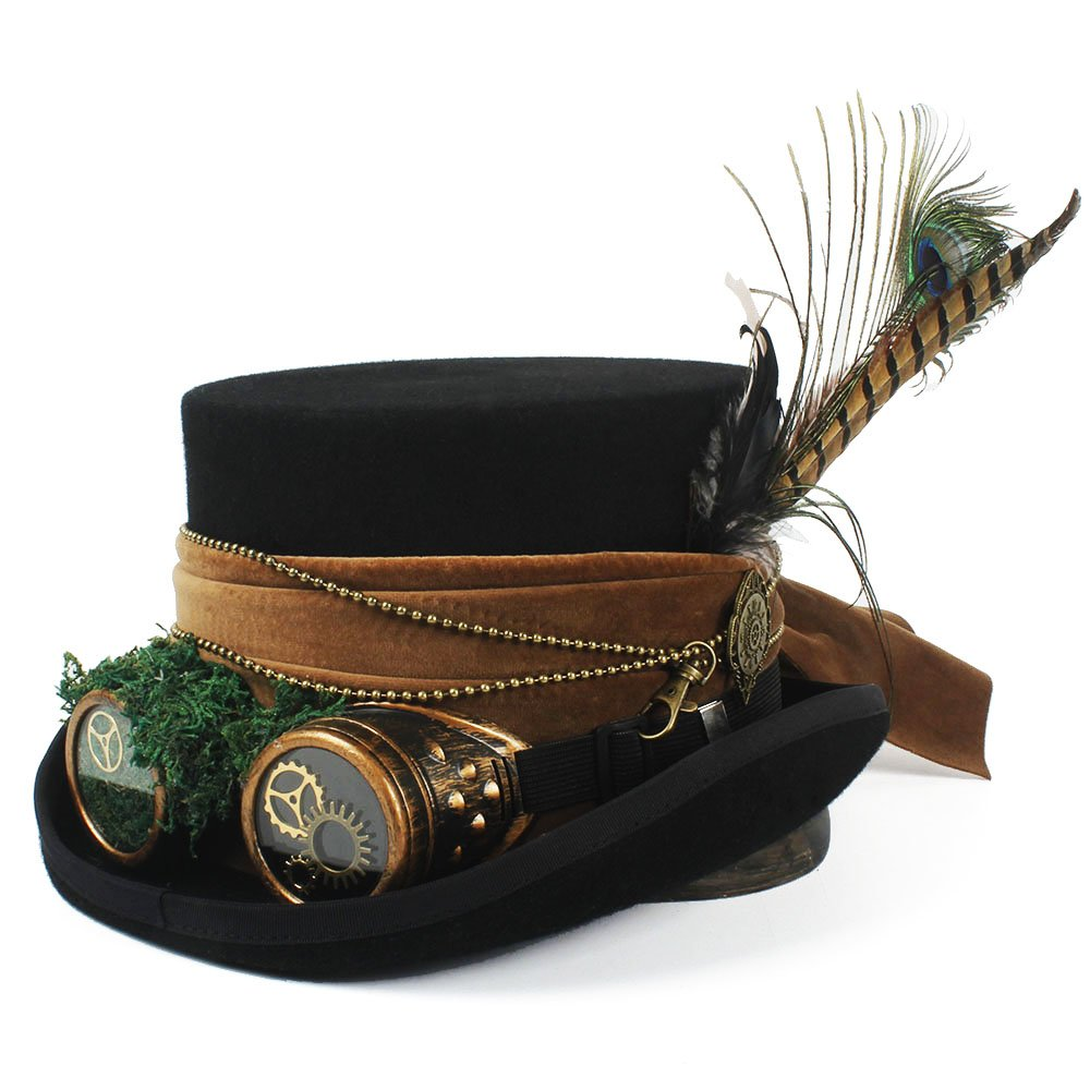 ZLQ Mad Hatter Hat Pirate Hat Top Hat with Goggles Steampunk Steampunk Top Hat Top Hat (Color : Black, Size : 55CM)