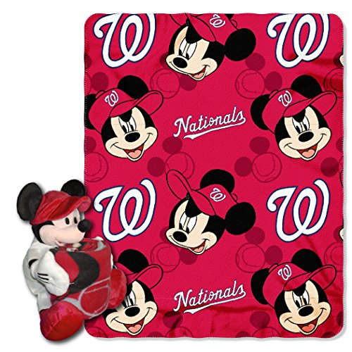 (Officially Licensed MLB Washington Nationals Pitch Crazy Co-Branded Disney's Mickey Hugger and Fleece Throw Set)