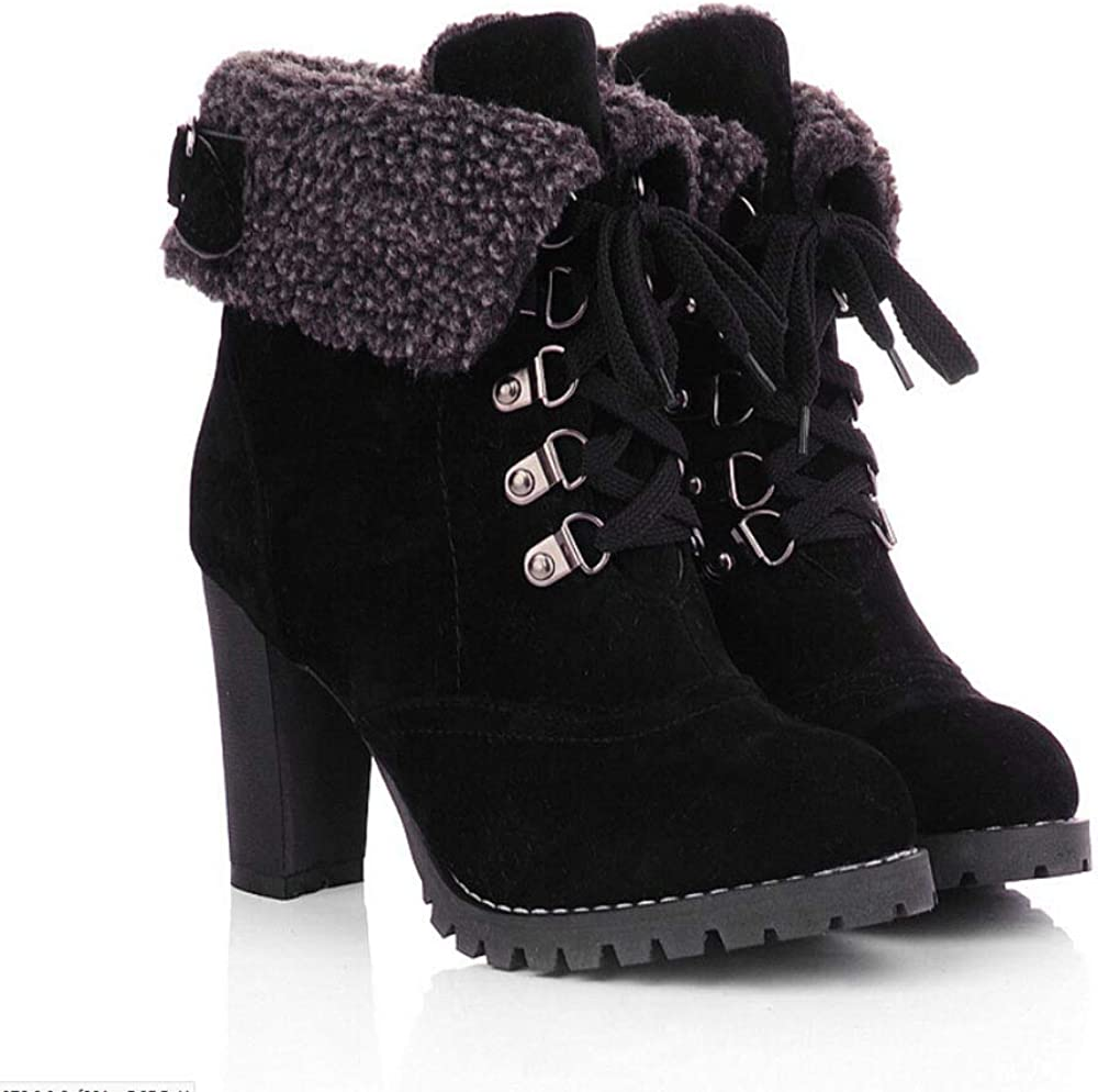 F1rst Rate Womens Vintage Warm Antiskid Round Toe Block High Heel Platform Booties Lace Up Ankle Shoes