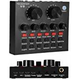 REMALL Mini Sound Mixer Board for Live Streaming, Voice Changer Sound Card with Multiple Sound Effects, Audio Mixer for Music Recording Karaoke Singing Broadcast on Cell Phone Computer Laptop Tablet