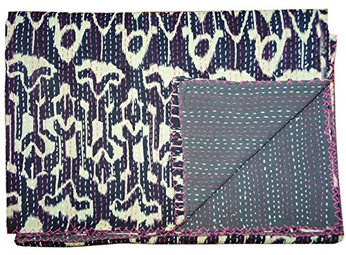 Decorative Quilts & Bedspreads Kantha Quilt Black Ikat Indian Cotton Handmade Bedspread Queen Size Gudari
