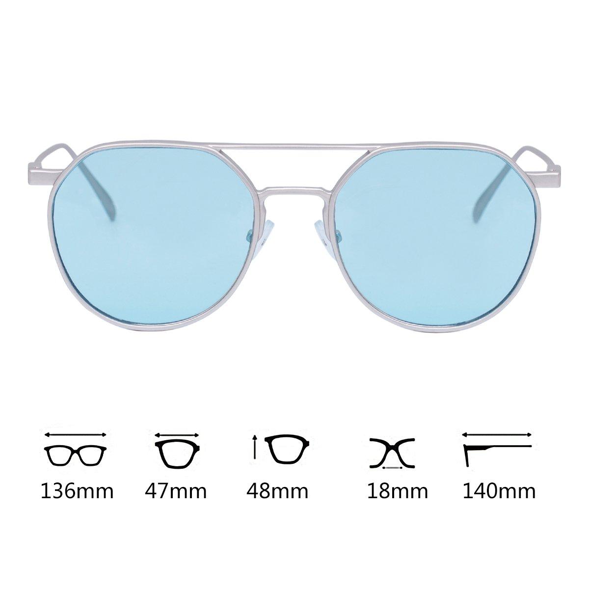 WISH CLUB Round Retro Transparent Sunglasses for Men Women Fashion Vintage 60s Stylish UV 400 Glasses(Blue)