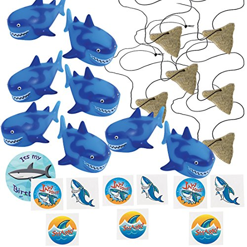 Shark Party Favors for 12 - Shark Tooth Toy Necklaces (12), Shark Tattoos (36), a Shark Birthday Sticker and 12 Shark Squirt Toys (Dark Blue) ()