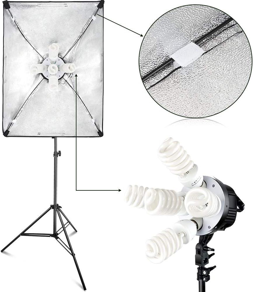 FOSITAN Kit d/Éclairage Studio 3X 20 x 28 Soft Box 11x45W Ampoules avec 3x2m Tr/épied et 1 Sac de Transport Kit Studio Photo avec Tige de Bras de Suspension