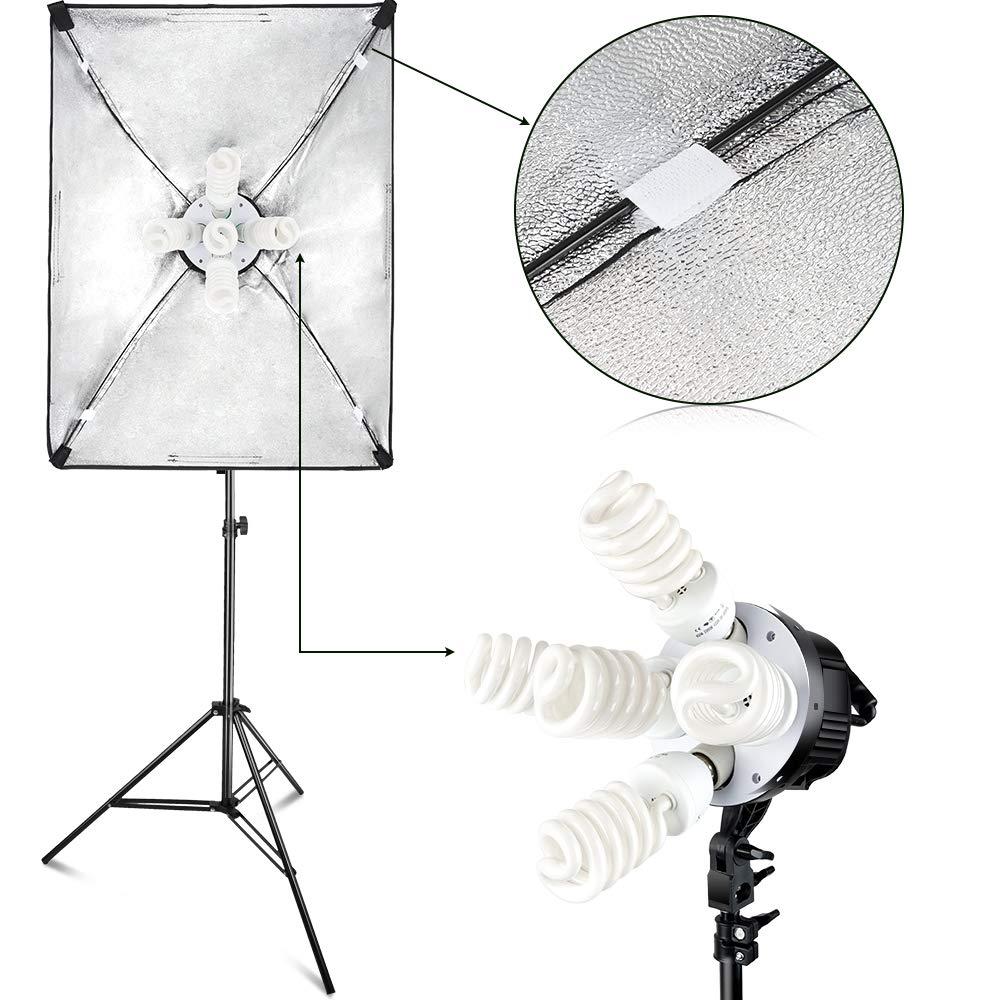 FOSITAN 3X 20'' x 28''Softbox Photography Lighting Kit, Boom Arm Headlight Lighting Kit with Sandbag, 2500W Continuous Lighting Kit with 2M Light Stand, Studio Lighting Kit with 11pcs Bulbs by FOSITAN (Image #2)