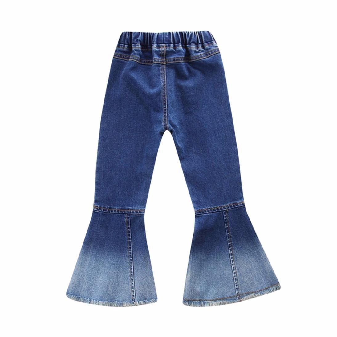 Leey Bambini Bambino infantile Ragazze Jeans vintage Splice Pantaloni a zampa di elefante denim Pants collocazione Cappotti Giacche impermeabili Gile Casual Baggy Cowboy pantaloni