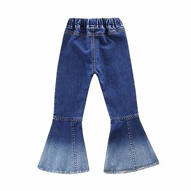 Leey Bambini Bambino Infantile Ragazze Jeans Vintage Splice Pantaloni a Zampa di Elefante Denim Pants collocazione Cappotti Giacche Impermeabili Gile
