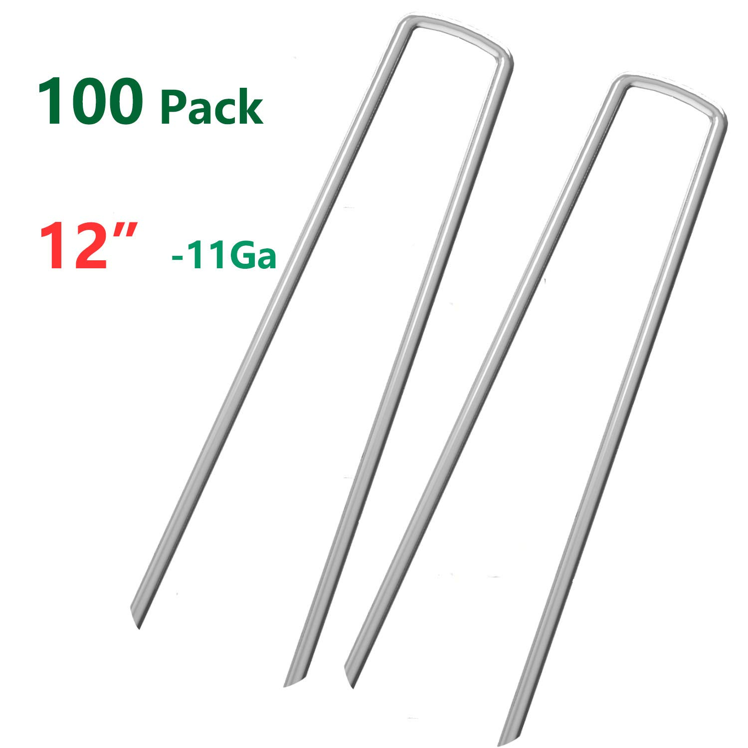 OuYi 100 Fence Anchors 12 Inch Garden Stakes/Spikes/Pins/Pegs 11 Gauge Galvanized Steel, Anchoring Landscaping, Weed Barrier Fabric, Ground Cover 100 Pack