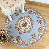 European Countryside Round Area Rug for Living Room Bedroom Computer Floral Carpet (3'3×3'3, 1 Blue) Review
