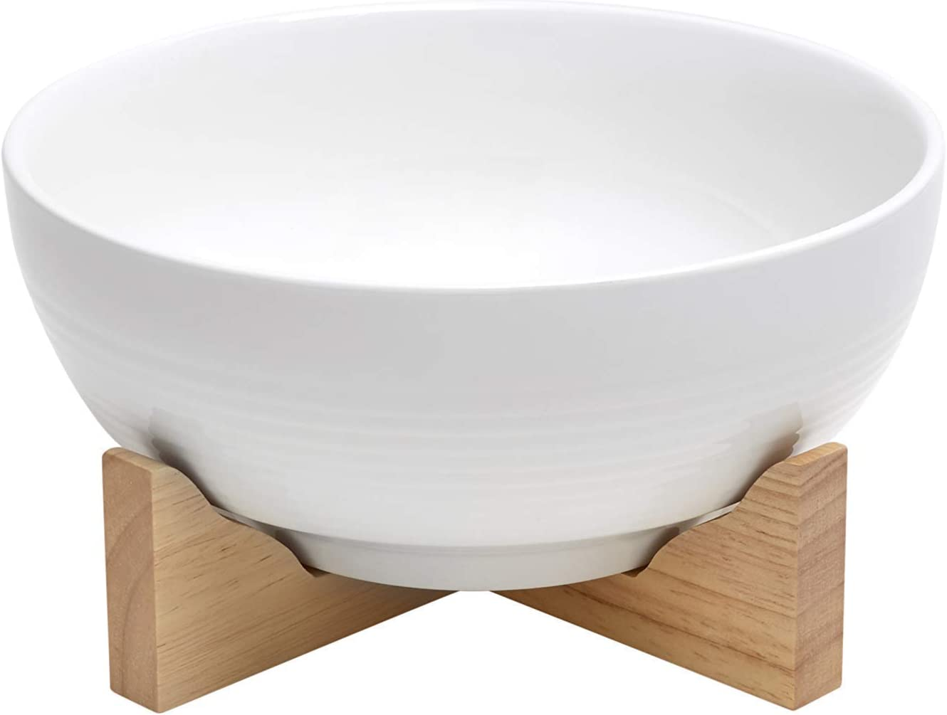 """Whonnock Home 7.5 """" white oven-to-table porcelain serving bowl with solid wood stand, thick non slip design"""
