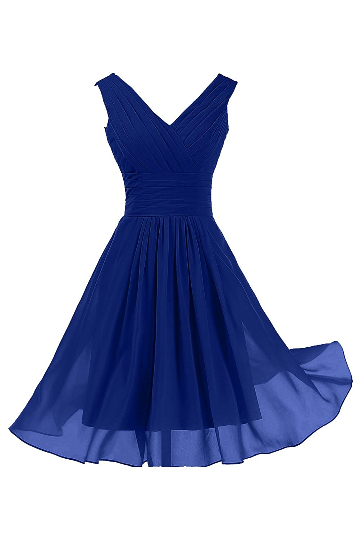 Sunvary Knee Length V Neck Chiffon Pleated Bridesmaid Evening Dresses
