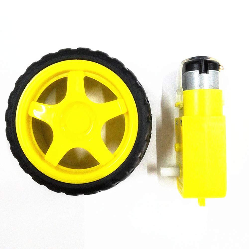 Mini moteur /à engrenages pour moteur DC 3-6V plus roue de pneu pour utilisation robotis/ée Moteur /à engrenages
