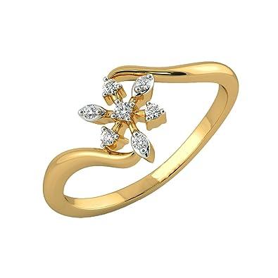 Jewelsforum 14k Yellow Gold Star Shaped Diamond Ring 0 09 Carat