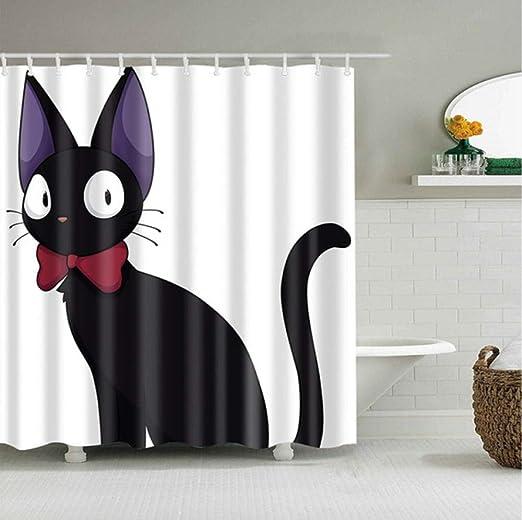 Tema Blanco Gato Negro de Dibujos Animados Lazo Rojo mira hacia atrás Impresión 3D Dibujos Animados Mamparas de baño Baño Cortina de Ducha Cortina de Unicornio Navidad-180 * 220cm: Amazon.es: Hogar