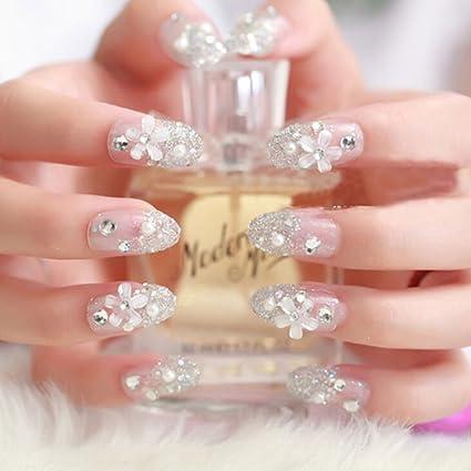 snnplapla 3d novia boda falsa Artificial uñas postizas Tips