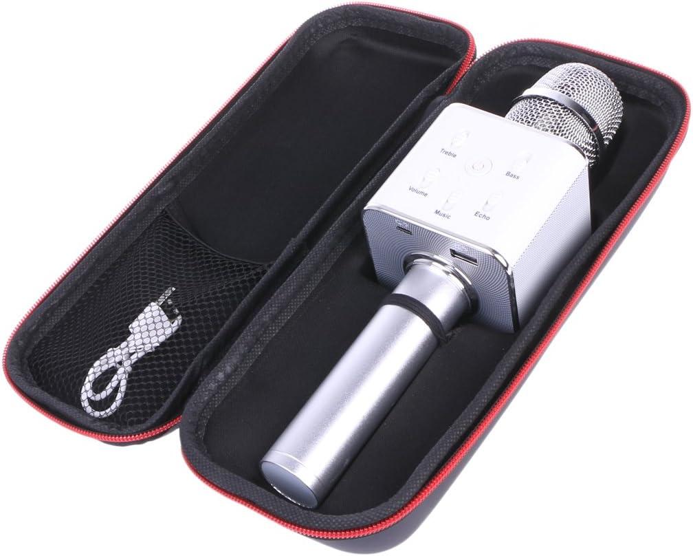 SimpleLife Micrófono de Karaoke inalámbrico, Altavoz con Bluetooth Pista de Sonido Envolvente Q7, Compatible con Android y iOS para KTV, Inicio, Canto de Fiesta y grabación (Color de Astilla)