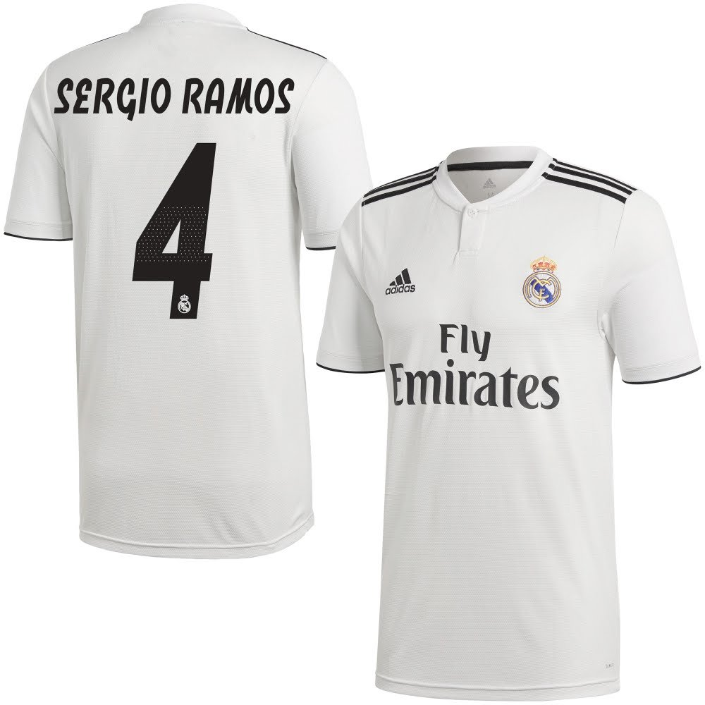 newest ce8b0 b89e7 Amazon.com : adidas Real Madrid Home Sergio Ramos 4 Jersey ...