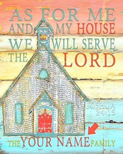 As for me and my house we will serve the Lord Joshua 24:15 Danny Phillips art print, UNFRAMED, Personalized Customized, Church chapel home decor family name sign, Christian bible verse scripture gift