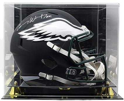 f91a5e32f2e Carson Wentz Signed Eagles Full Size Speed Black Matte Replica Helmet  Fanatics