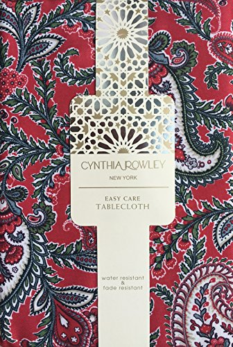 Cynthia Rowley Easy Care Fabric Holiday Tablecloth Christmas Floral Paisley Pattern Red Green Cream with Gray Highlights -- Pixie Paisley -- 90 Inches Round (Linens Rowley Cynthia Table)