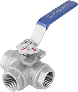 "3-Way Ball Valve Stainless Steel SUS304 Pipe Three-way T-Type Valve Female Thread 3/4"" DN20 with Vinyl Locking Handle"