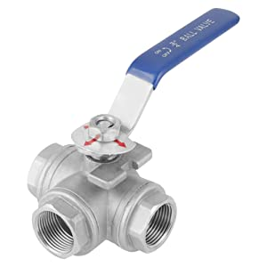 "Ball Valve, 3-Way Type Stainless Steel SUS304 Pipe Ball Valve,3/4"" T-Type Female Thread, DN20"