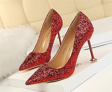16823e4fcdd6f Amazon.com: LUCKY CLOVER-CC Women Wedding High Heels Sandals Red ...