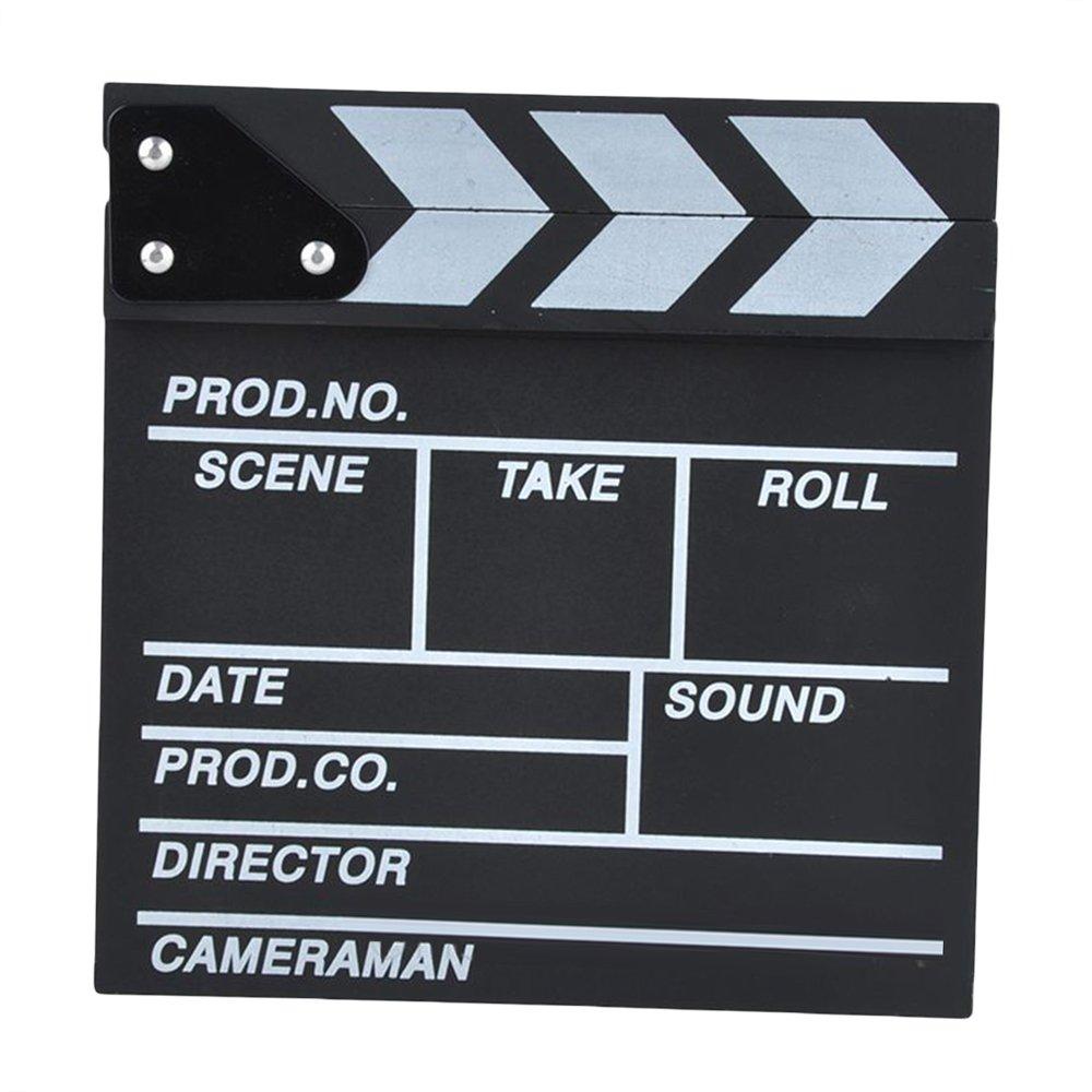 Leermart Classical Director Clapper Board Scene Clapperboard Cut Prop for TV Film Promo Videos or Fun (30 x 27cm, black)