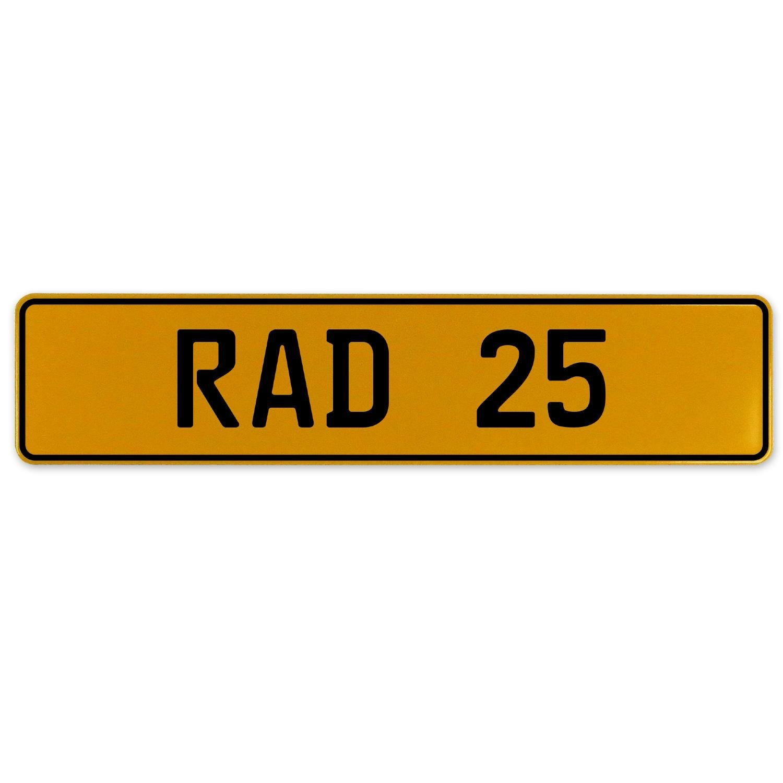 Vintage Parts 558978 Yellow Stamped Aluminum European Plate RAD 25