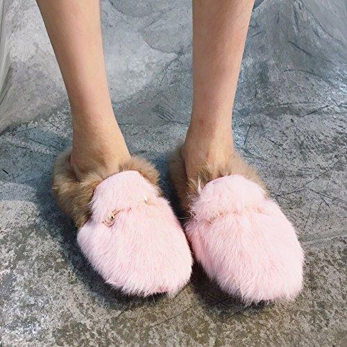 LaxBa Ladies' Cashmere in maglia di cotone Casa antiscivolo pantofole rosa35