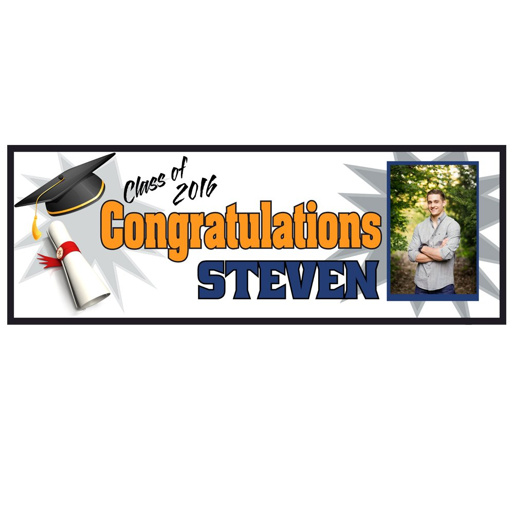 College Graduation Banner Party Supplies Decoration 2ftx6ft Vinyl banner Graduation gift 2016 celebration high school College