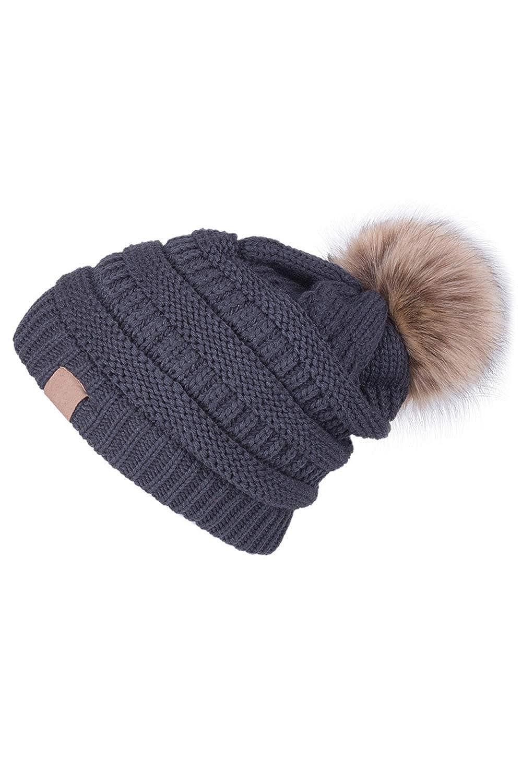 Zonsaoja Womens Knit Pom Pom Hat Beanie Hats CC SlouchWarm Soft Velvet Curling CAZn1810808-Beige-F