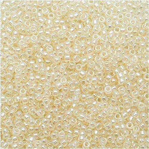 (Spk Jewelry 540 Pcs 8/0 Ceylon Light. Ivory TOHO Round Glass Seed Beads 15 Grams for Pendant Bracelet DIY Jewelry Making)