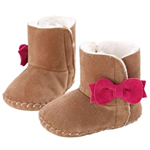 Amiley Baby Girl Keep Warm Soft Sole Snow Boots Soft Crib Shoes Toddler Bootie (Size 12 (US:3---6~12 Month), Coffee)