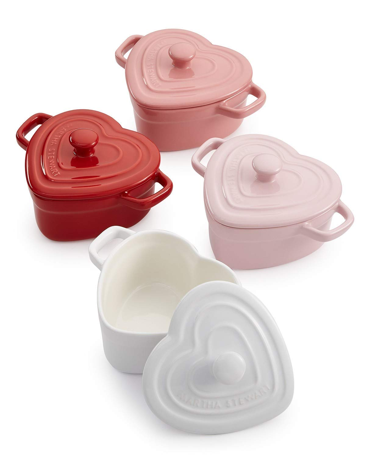 Martha Stewart Collector's 4 pc Heart-Shaped Cocottes Set, 11 oz each Federated Merchandising Group