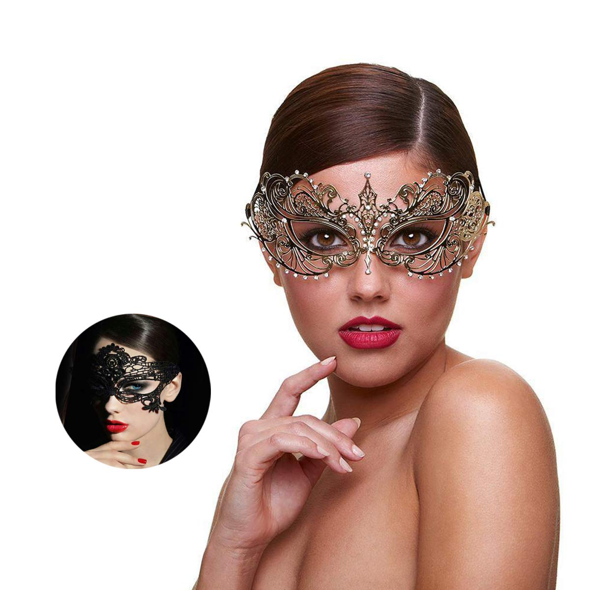Masquerade Mask for Women Metal Rhinestone Venetian Mask with Free Lace Mask