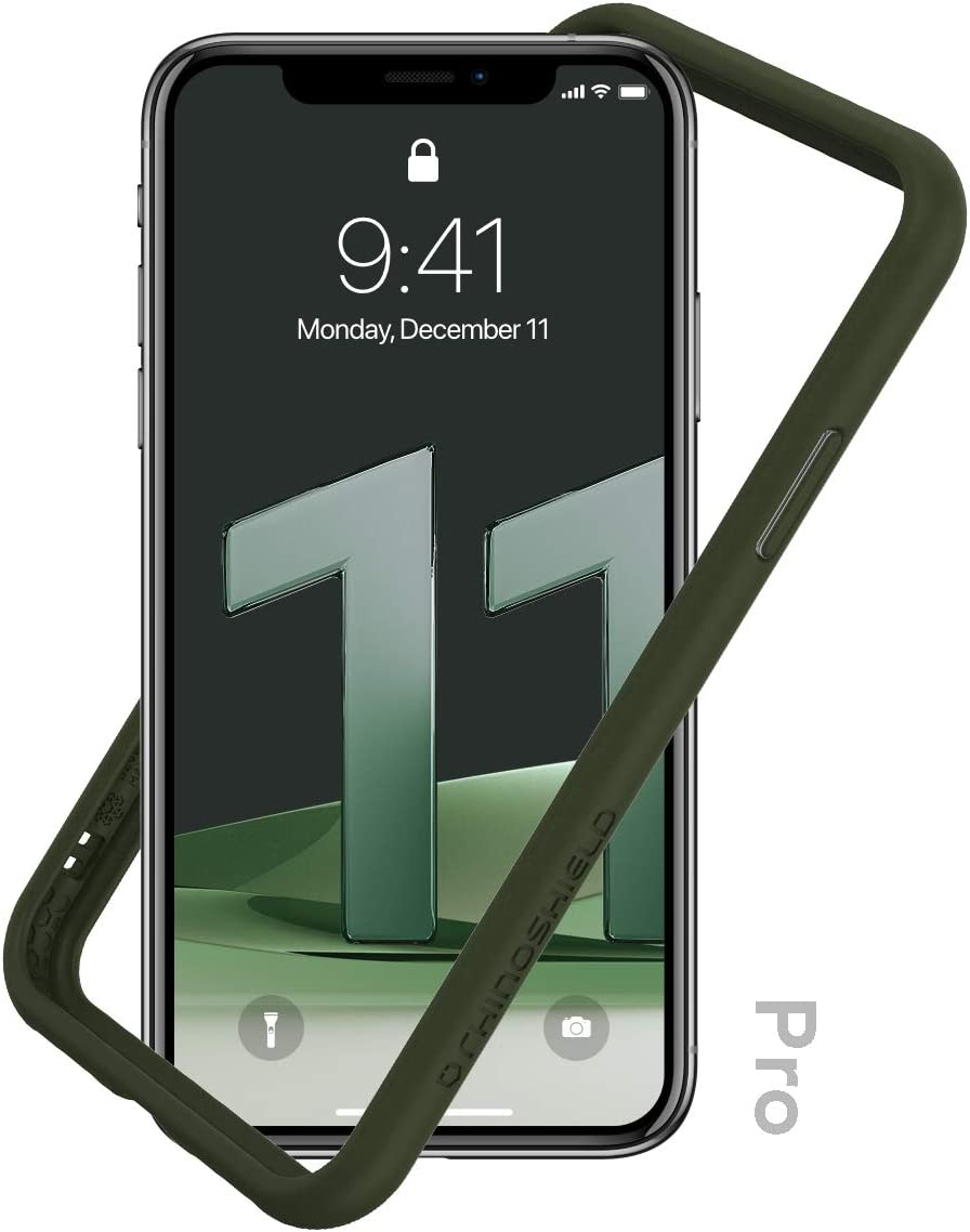 RhinoShield Bumper Case Compatible with [iPhone 11 Pro] | CrashGuard NX - Shock Absorbent Slim Design Protective Cover 3.5M / 11ft Drop Protection - Camo Green