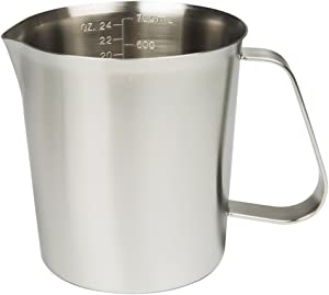 Sissiangle18/10 Stainless Steel Measuring Cup,Frothing Pitcher with Marking with Handle for Milk Froth, Latte Art (24OZ/0.7 Liter)