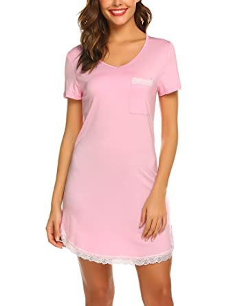 2023079b06 Image Unavailable. Image not available for. Color  Ekouaer Womens Nightgown  Cotton Sleep Shirt Dress Casual Pocket Short ...
