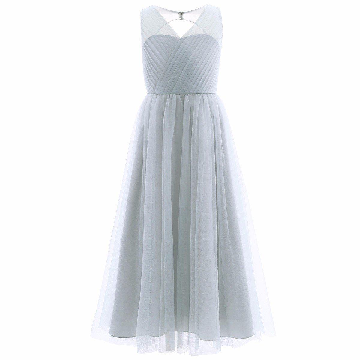 Amazon.com: FEESHOW Big Girls Flower Junior Bridesmaid Wedding Gown ...