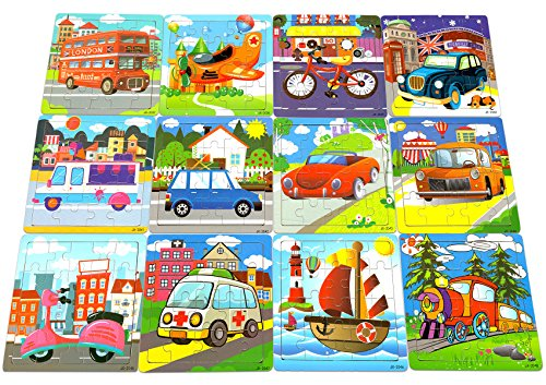 Series Tote Tray - Vileafy 12-In-1 Jigsaw Puzzles for Kids, Wooden Puzzles with Individual Silk Gift Bag for Children's Party Favors
