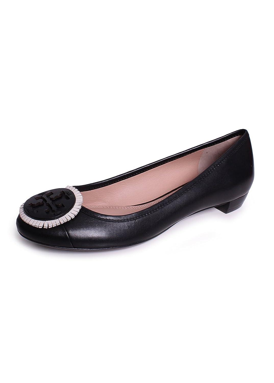 7bcdccd5b29f Tory Burch Miller Fringe 15MM Leather Ballet Flats In Black Bleach Black
